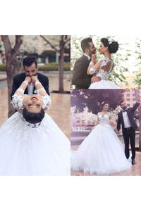 Ball Gown V-neck Illusion Long Sleeve Floor-length Court Train Tulle Wedding Dress with Appliques