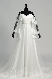 Floor-length Court Train A-line Off-the-shoulder Bell Illusion Long Sleeve Low-V Back Tulle Weeding Dress