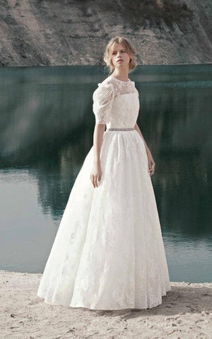 Vintage Style Romantic Gown Floral Lace Dress