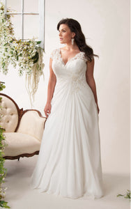 Cap-sleeve Lace Chiffon Floor-length plus size wedding dress With Criss cross