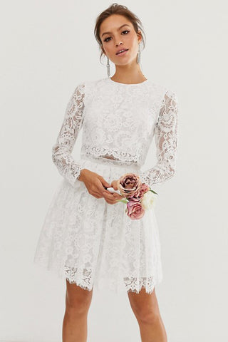 Chic Two Piece Long-sleeve Short Lace Wedding Dress