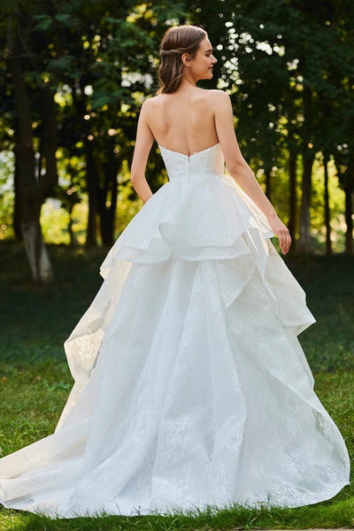 Sweetheart Cascading Ruffles Sleeveless Open Back Lace Bridal Ball Gown