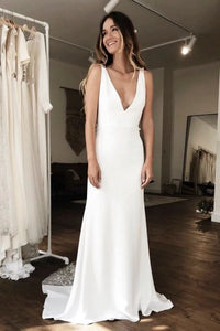 Modern Sleeveless Plunging Stain Wedding Gown With Illusion Deep V-back Details
