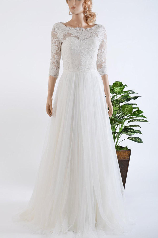3-4 Length Sleeve Tulle Satin Lace Bolero Wedding Dress