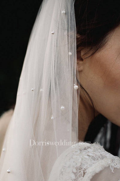 Vintage Bride Pearl Veil Wedding Veil For Travel Photography Soft Yarn