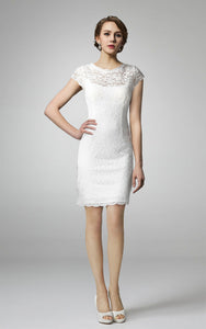 Scoop-neck Short Sleeve Lace Pencil Wedding Dress With Low-V Back