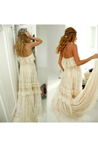 Spaghetti A-Line Sexy Sleeveless Floor-Length Tiers Lace Backless Beach Wedding Dress