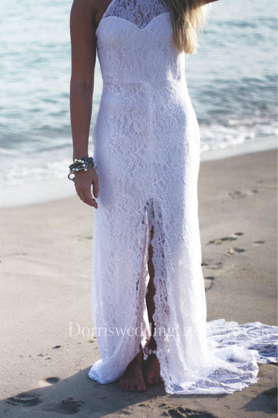 High Neck Sleeveless Lace Split Front Dress With Sweep Train