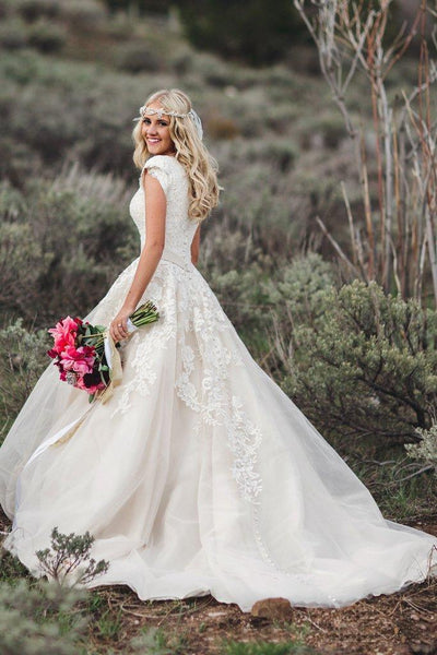 Romantic Queen Anne Ballgown Cap Sleeve Wedding Dress With Lace Appliques