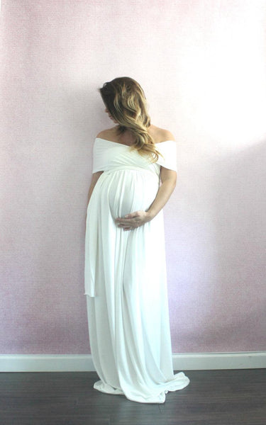 Wrap Floor-Length Pregnant Gown