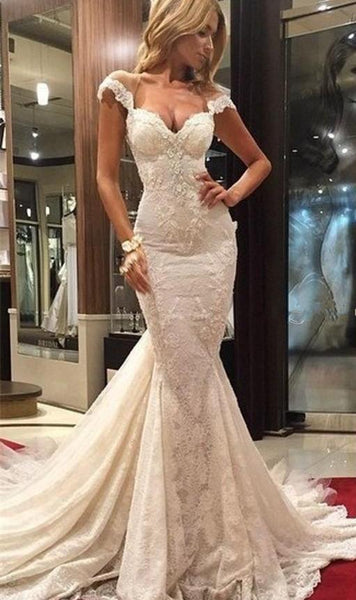 Delicate Mermaid Lace Appliques Wedding Dress With Court Train-710877