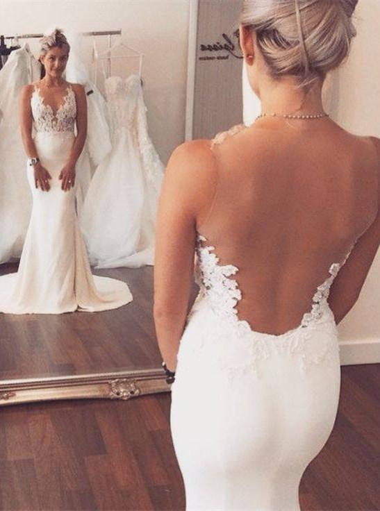 Noble Sleeveless Lace Appliques 2018 Wedding Dresses Mermaid on Sale-710890