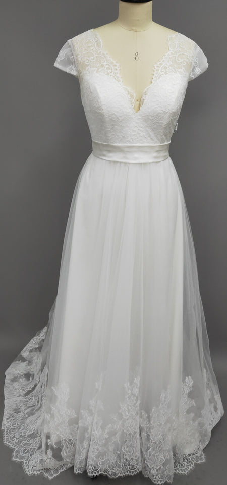 V-Neck Short Sleeve Lace And Tulle Dress With Sash And Bow-z710983