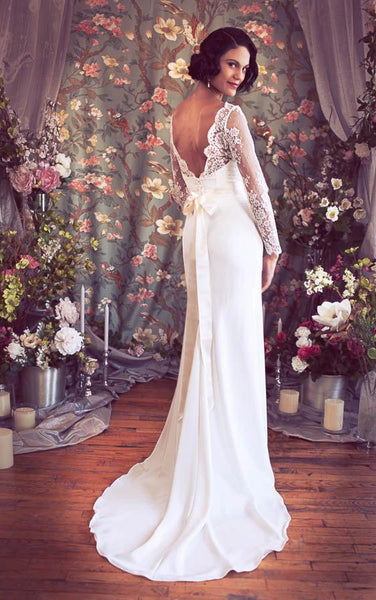 V-Neck Low-V Back Sheath Satin Wedding Dress With Sash And Flower-ET_711344