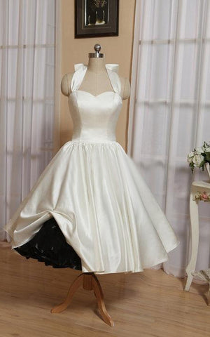 Halter Tea-Length Satin Wedding Dress With Bow And Lace-Up Back-711155