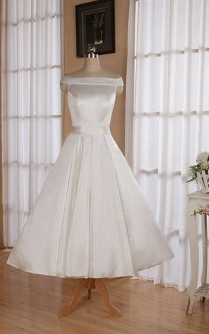 Wedding Ribbon Off-The-Shoulder Neckline 3-4-Length Sleeveless Dress-711192