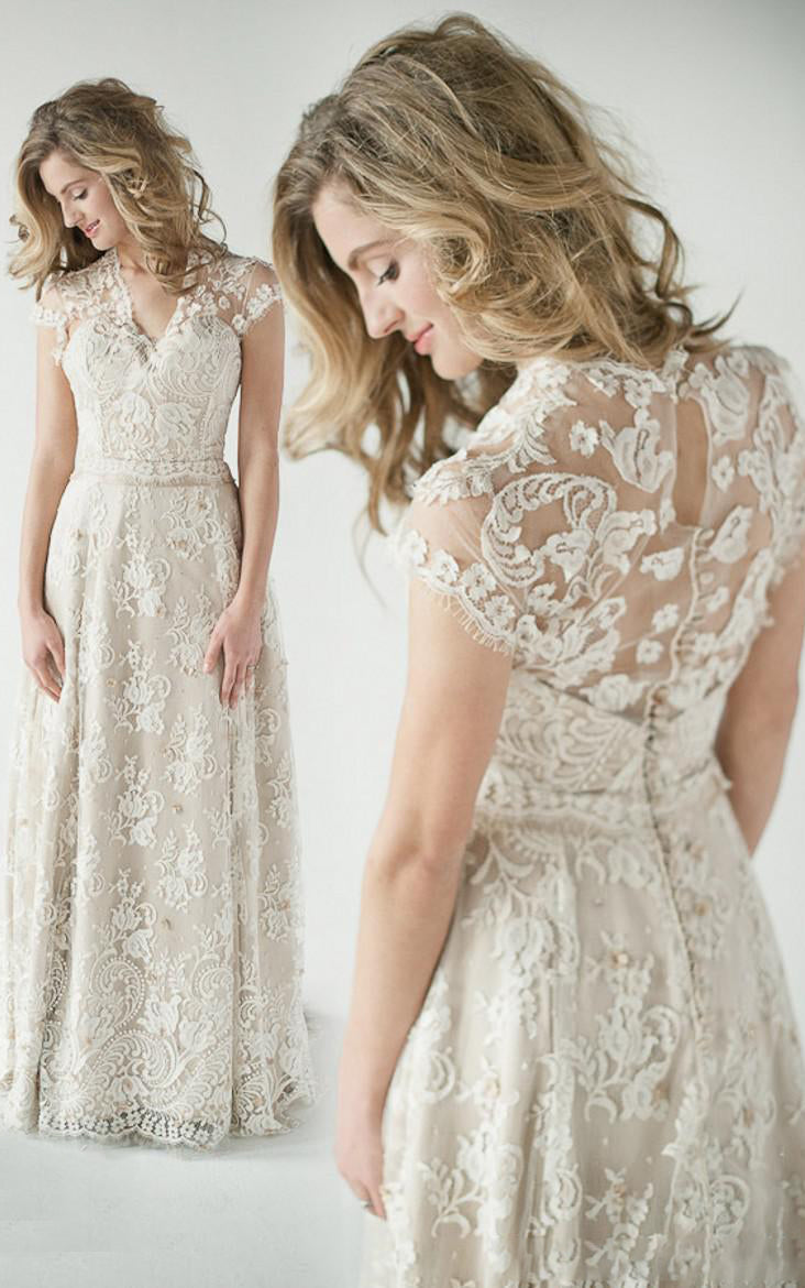 A-Line Empire Short V-Neck Bell Cap Empire Draping Beading Appliques Button Lace Dress-713513
