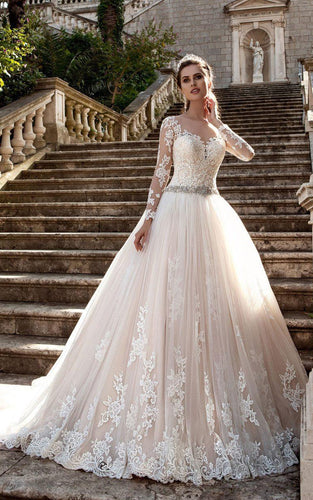 Stunning Long Sleeve Ball Gown Lace Dress 713579