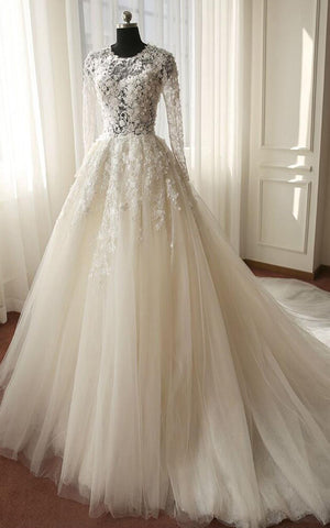 Long Sleeve Illusion Bodice Tulle Ball Gown Wedding Dress with Lace Applique-714020