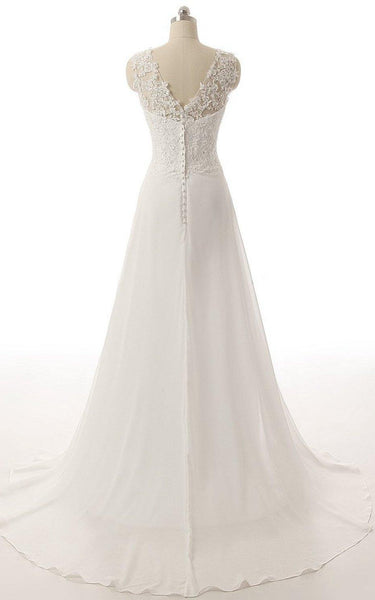 V-Neck Brush Train Lace and Chiffon A-Line Wedding Dress-713930