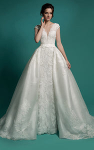 Mermaid Floor-Length V-Neck Cap-Sleeve Zipper Lace Dress With Sash And Detachable Train-714203