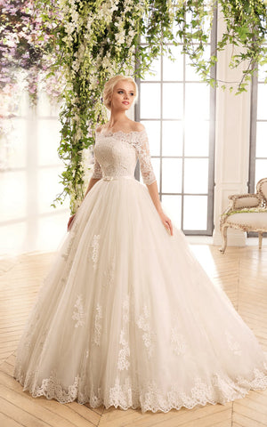A-Line Floor-Length Off-The-Shoulder Half-Sleeve Illusion Lace Tulle Dress With Appliques-714442