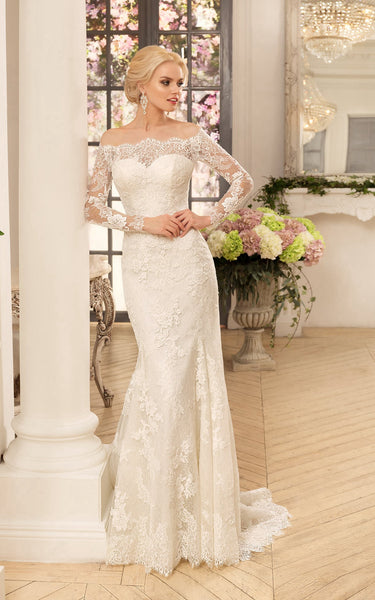 Sheath Long Off-The-Shoulder Long-Sleeve Illusion Lace Dress With Appliques-714444