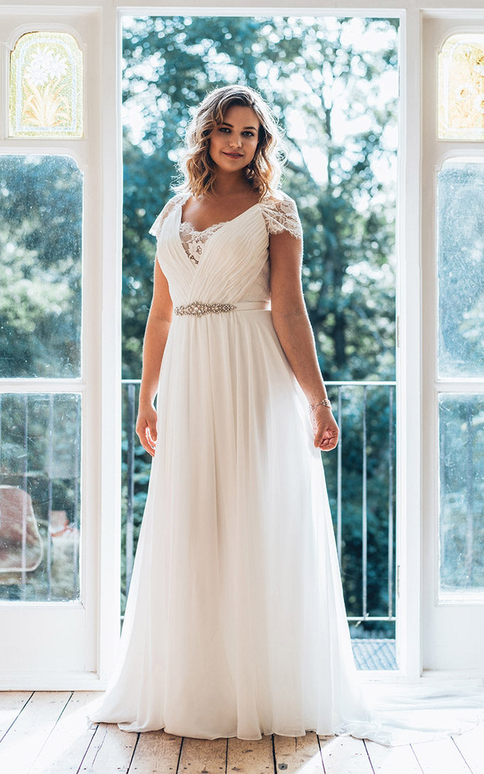 Plus Size V Neck Short Sleeve A Line Chiffon Wedding Dress With