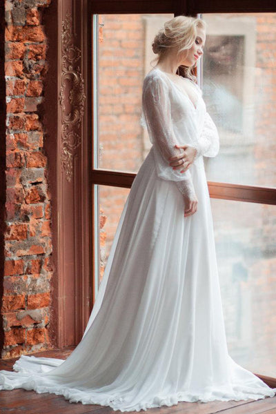 Plunged Lace Illusion Long Puff Sleeve Chiffon Wedding Dress With Sweep Train-714870