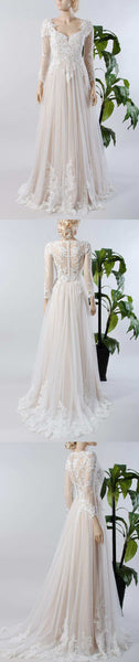 V-Neck Illusion Long Sleeve Lace Appliqued Tulle A-Line Pleated Wedding Dress