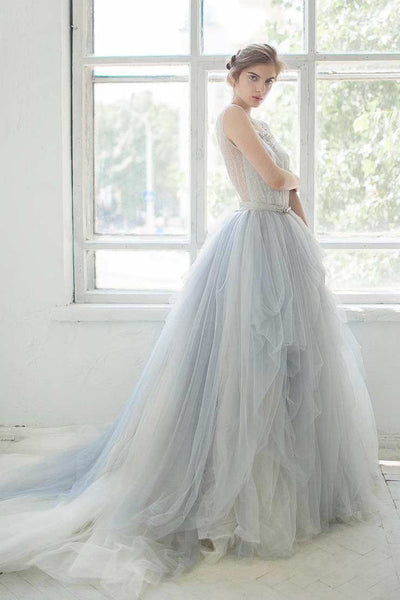 Bell Sleeve Tulle Satin Lace Wedding Dress-715074
