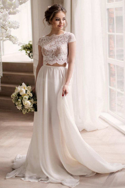 Bateau Short Sleeve Two-Piece Chiffon Wedding Dress With Lace Top-715217