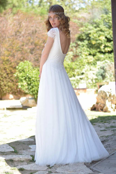 V-Neck Short Sleeve Chiffon Floor-Length Wedding Dress With Lace-715257