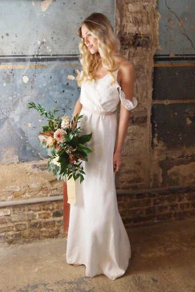 Casual Sheath Chiffon Spaghetti Wedding Dress With Lace Top-715259