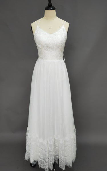 Spaghetti Strap Chiffon Lace Wedding Dress-Z715282