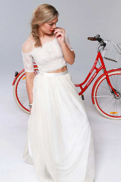 Illusion Off-The-Shoulder Lace Short Sleeve Two Piece Wedding Dress-715298