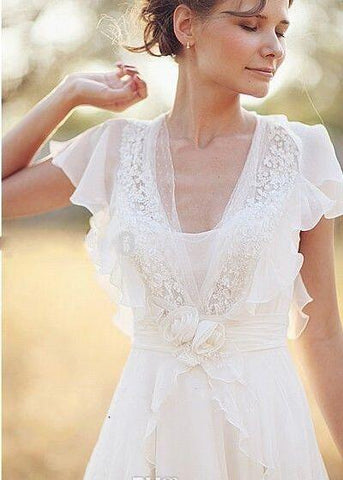 Bohemian Pearls Deep V Neck Backless Flower Beading Sheer Sleeve Pleats Chiffon Wedding Dress-715312