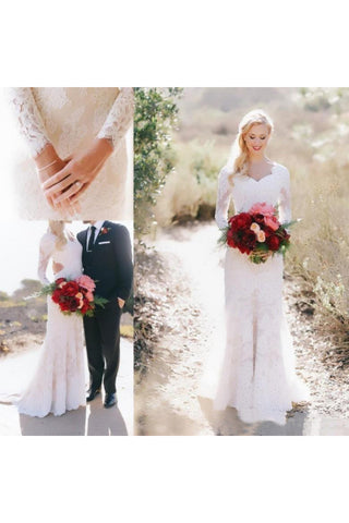 Lace Long Sleeve Country V-neck Elegant Garden Wedding Dresses-715316