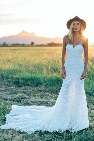 A Line Bohemian Low V Back Full Lace Beach Garden Bridal Gowns-715318