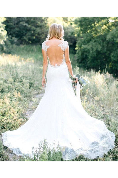 Sheer Crew Neck Garden Mermaid Boho Lace Bodice Appliques Backless Elegant Bridal Gown-715328