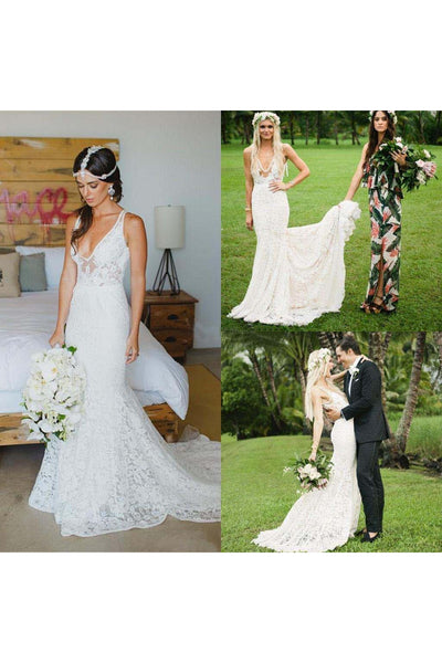 Deep V Neck Appliques Backless Trumpet Beach Lace Mermaid Bohemian Wedding Dress-715340