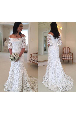 Vintage Bohemian Off The Shoulder Half Long Sleeves Lace Bridal Gown-715345