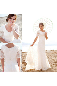 Modest Short Sleeves Beach Garden Elegant Lace Mermaid Bridal Gown with Pearls-715359