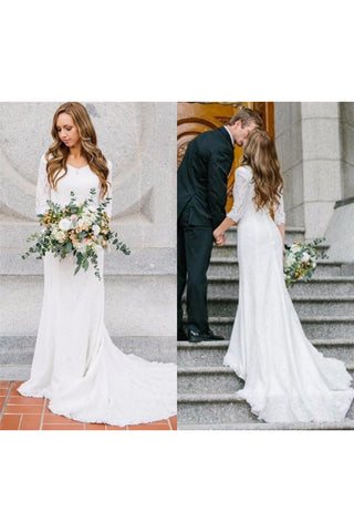 Country Style Vintage Modest Bohemian Lace Chiffon Wedding Gown With Long Sleeves-715360