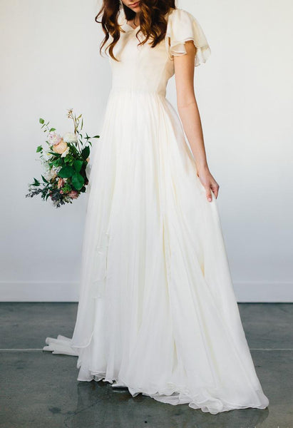 Flowy Beach Short Sleeves Beaded Belt Temple Chiffon Modest Wedding Dress-715364