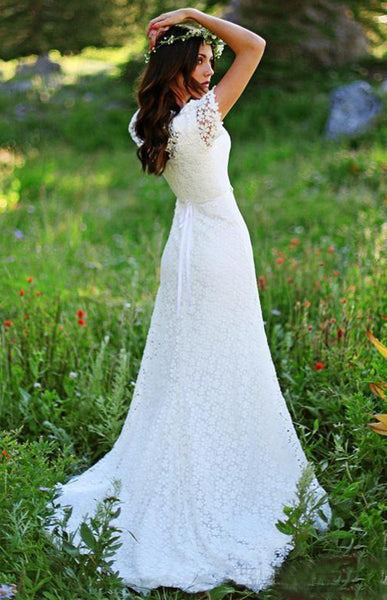 Vintage Country Modest Cap Sleeve Bohemian Crochet Lace A-line Wedding Dress with Beaded Belt-715367