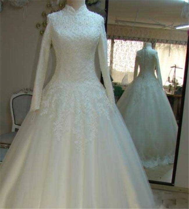 Vintage Beaded Lace High Neck Wedding Dresses with Long Sleeves-715373