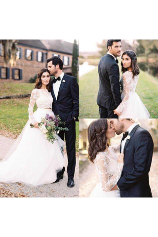 Two Pieces Long Sleeves Lace Bohemian Modest Wedding Dress-715375