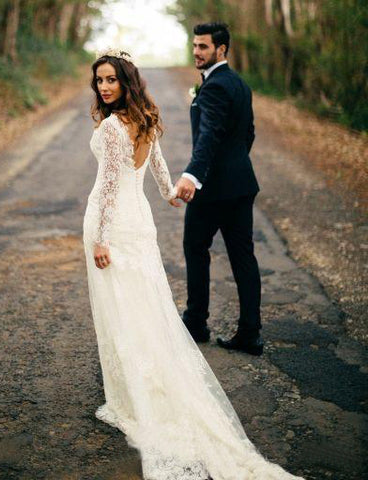 Romantic Bohemian Long Sleeves Sexy Deep V Neck Backless Lace Wedding Dress-715398