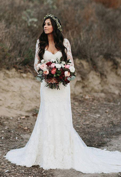 Country Style Sexy Deep V Neck Backless Long Sleeves Lace Court Train Wedding Gown-715399